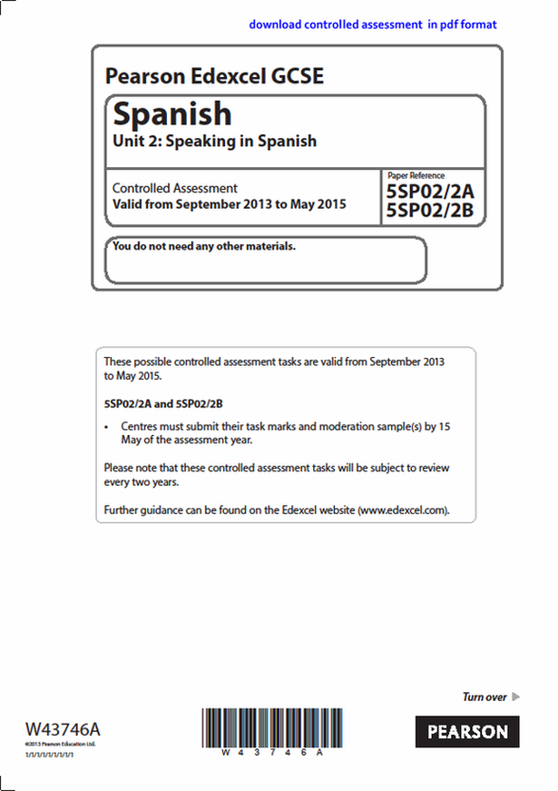 Edexcel GCSE Spanish Speaking Controlled Assessment sample exam paper